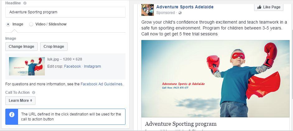 Facebook Local awareness Ad